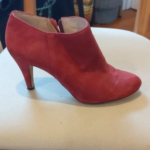 Red Vince Camuto high heel ankle boots